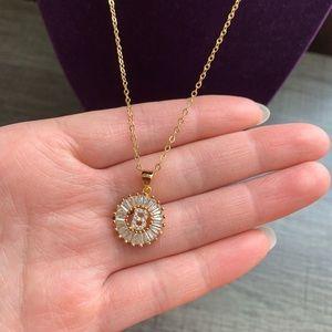 """Jewelry - COPY - New 18K gold """"B"""" CZ diamond necklace"""